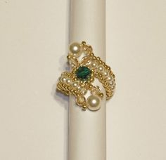 Beaded Pearl and Crystal Ring