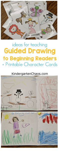 Teaching Guided Drawing To Beginning Readers + Printable Character Cards