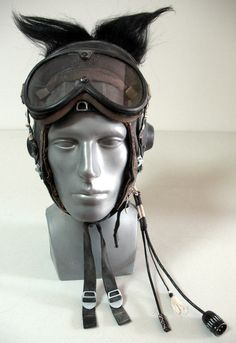 Wasteland post-apocalyptic vintage Soviet Pilot Helmet hand-painted leather with goat hair