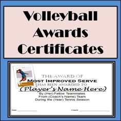 volleyball certificate templates free