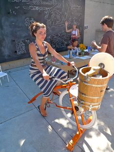 Ice Cream Bike Pedal Powered Ice Cream Maker ProductivePedals www.diyhomep - So Funny Epic Fails Pictures Diy Ice Cream, Ice Cream Maker, Survival, Bike Pedals, Cargo Bike, Epic Fail Pictures, Company Picnic, Bicycle Girl, Bicycle Design