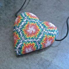 Tie-Dye Necklace, Heart Pendant, Polymer Clay Bead, Millefiori Pendant, Handmade…