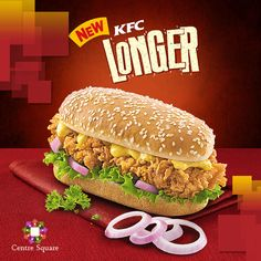 The new KFC Longer with a toasted bun, crispy chicken and a spicy tangy sauce.