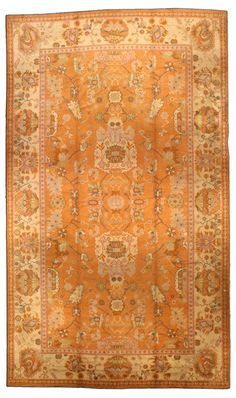 A Turkish Oushak rug Circa: 1920 An early century Turkish Oushak (Ushak) rug, the rust field with a spacious symmetrical desi. A Turkish Oushak rug Circa: 1920 An early c Kilim Rugs, Oushak Rugs, Interior Rugs, Interior Design, Colorful Rugs, Rugs On Carpet, Vintage Rugs, Antiques, Kilims