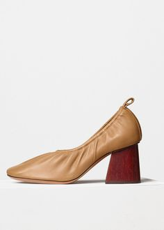 Soft Ballerina Pump in Nappa & Wooden Heel - Céline