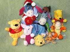 9 WINNIE the POOH Eeyore Tigger PIGLET Stuffed Beanie Plush Toys Disney Animals #seedescription