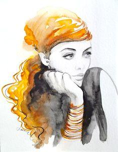 Original Watercolor Fashion Illustration - Watercolor by Lana Moes #draw #illustration
