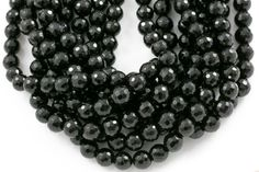 Natural Onyx Beads 96-Faceted Round Full Strand 4mm by beadboat1