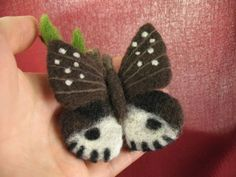 OOAK-Artist-Needle-FELTED-small-Butterfly-on-a-branch-handmade-with-love-i050