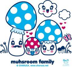Charuca Mushroom Family by charuca, via Flickr Japanese Drawings, Japanese Cartoon, Cute Japanese, Diy Kawaii, Kawaii Cute, Bright Wallpaper, Kawaii Wallpaper, Plant Cartoon, Cartoon Art