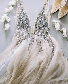 Gray v neck tulle sequin beads long prom dress, gray tulle evening dress - Prom Dresses Design Grey Prom Dress, V Neck Wedding Dress, Prom Dresses Blue, Prom Party Dresses, Bridal Dresses, Evening Dresses, Bridesmaid Dresses, Prom Gowns, Bridesmaids
