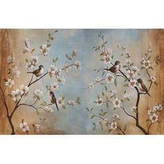 World Menagerie Vintage Sakura Cherry Blossom Removable Textile Wallpaper Size: x Brick Wallpaper Roll, Wallpaper Size, Wallpaper Panels, Custom Wallpaper, Bedroom Murals, Wall Murals, Wall Art, Wall Decor, Sakura Cherry Blossom