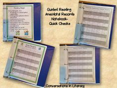 Guided Reading Anecdotal Records Notebook- plan more effectively and efficiently Guided Reading Activities, Teaching Reading, Reading Games, 5th Grade Reading, Early Reading, Teacher Binder, Teacher Tools, Anecdotal Records, Word Notebooks