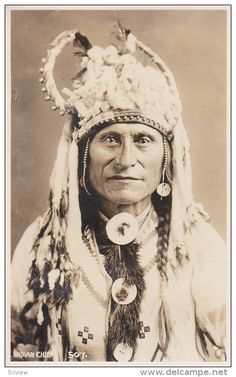 RP: Portrait of a Stony Indian Chief , BANFF , Alberta , Canada , 1910-20s ; Byron Harmon Photo postcard Item number: 271698157  - Delcampe.com