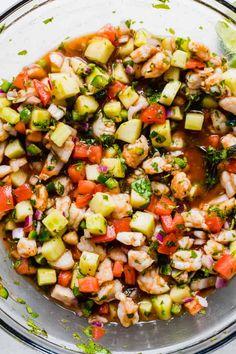 Shrimp Recipes, Fish Recipes, Mexican Food Recipes, Appetizer Recipes, Appetizers, Salad Recipes, Best Ceviche Recipe, Shrimp Ceviche Recipe With Clamato, Salads