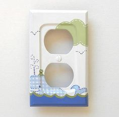 Bathroom---Boys Jordan SINGLE Outlet Cover or Wall Plate Hand Painted to Match Pottery Barn Kids Jordan Bathroom Set Bathroom Decor Wall Plate Whale. $19.95, via Etsy.