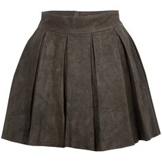 Alice + Olivia Louise Box Pleat Leather Skirt (4,980 HNL) ❤ liked on Polyvore featuring skirts, bottoms, saias, faldas, women, brown pleated skirt, high waisted leather skirt, high-waisted skirts, real leather skirt and high waisted pleated skirt