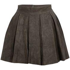 Alice + Olivia Louise Box Pleat Leather Skirt (860 PLN) found on Polyvore
