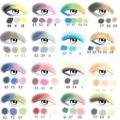 Beautiful eye shadow color combinations chart.