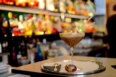 The ulimate Easter cocktail the 'Creme Egg Martini at the Café Royal Hotel. Easter Cocktails, Chocolate Cocktails, Green Bar, Creme Egg, Easter Weekend, Cocktail Recipes, Martini, Good Food, Food And Drink