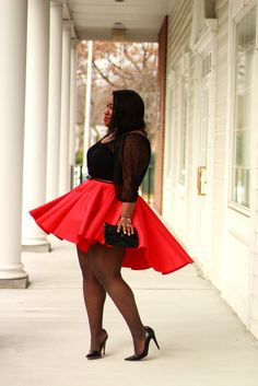 Shapely Chic Sheri - Red Alert: Sheer Polka Dot Blouse   + Skater Skirt