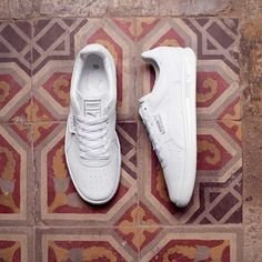 All-white G. Vilas plus this decades-old tile floor found in That's unmatched style. White Puma Sneakers, Baby Sneakers, Pretty Shoes, Cute Shoes, Me Too Shoes, Ankle Shoes, Men's Shoes, Sneak Attack, Everyday Shoes