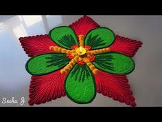 Affective and attractive sunflowe rangoli design/beautiful & unique FLOWERS rangoli designs by jyoti - YouTube