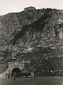 1945 photo of entrance tunnel to elevator going up to the Kehlsteinhaus, visible at top Kehlsteinhaus - Wikipedia, the free encyclopedia