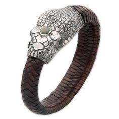 Herringbone Braided Leather Snake Bracelet wtih a Mother Of Pearl Crown and Labradorite Eyes.