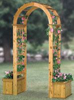 Arched Trellis W/Planters Wood Plans Enter your favorite garden area through this cedar masterpiece. It's sure to get lots of compliments from neighbors and friends. #diy #woodcraftpatterns