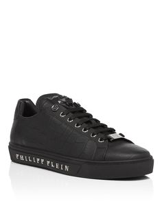 "Philipp Plein Low Sneakers ""tusk"" In Black All Black Sneakers, High Top Sneakers, Calf Leather, Front Row, Panther, Calves, Louis Vuitton, Mens Fashion, Boutique"