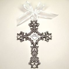 Bless This Child Pewter Wall Cross - Baptism Gift