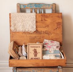 Would love to have this old box filled with vintage sewing supplies, lace and fabric!