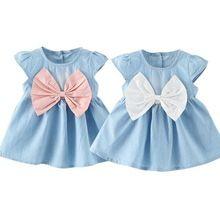 Sweet baby meninas arco-nó design mini dress crianças bebê verão estilo moda manga curta party dress roupa dos miúdos(China (Mainland))