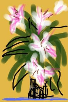 Available for sale from L. Louver, David Hockney, Lilies IPhone drawing printed on paper, 40 × 25 in David Hockney Ipad, David Hockney Art, David Hockney Paintings, Ipad Kunst, Iphone Drawing, Pop Art Movement, Ipad Art, Robert Rauschenberg, Willem De Kooning