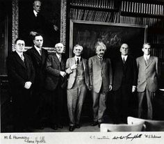 Albert A. Michelson (center) with (left to right) M.L. Humason, Edwin Hubble, C.E. St. John, Albert Einstein, W.W. Campbell, and W.S. Adams in the library of the Mount Wilson Observatory, Pasadena, California, in early 1931.