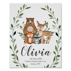 Shop Woodland Animals Greenery Baby Shower Welcome Sign created by LollipopParty. Baby Posters, Love Posters, Custom Posters, Woodland Animal Nursery, Woodland Animals, Woodland Forest, Woodland Creature Baby Shower, Woodland Theme, Woodland Baby
