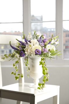 Using OASIS® Floral Products White Glass Urn  www.oasisfloral.com