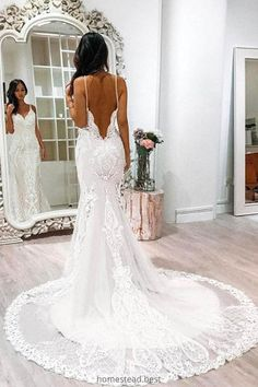 Spaghetti Strap Backless Lace Wedding Dress, Mermaid Lace Long Bridal Dresses Source by homesteadbest Kleider spitze Wedding Dress Mermaid Lace, Backless Lace Wedding Dress, Wedding Dress Train, Perfect Wedding Dress, Mermaid Dresses, Dress Lace, Tulle Wedding, Boho Wedding, Lace Chiffon