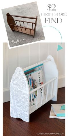 A Tale of Two Rack Makeovers Thrift store magazine rack makeover from confessionsofaser… Related posts: Charming Thrifty Farmhouse Furniture Makeovers DIY Stair Railing Ideas & Makeovers Awesome DIY Furniture Makeovers 24 Easy DIY Furniture Makeovers Cheap Furniture Makeover, Diy Furniture Easy, Refurbished Furniture, Repurposed Furniture, Furniture Projects, Furniture Plans, Furniture Cleaning, Diy Projects, City Furniture