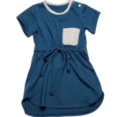 BUILDING BLOCKS PAPERPLANES DRESS - pacific blue cotton jersey