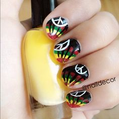 Rasta Nails  One Love, Peace, and Happiness.