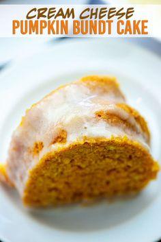 Pumpkin Bundt Cake with Cream Cheese Glaze! This is the perfect bundt cake for fall! Pumpkin Bundt Cake with Cream Cheese Glaze! This is the perfect bundt cake for fall! Pumpkin Crunch Cake, Pumpkin Bundt Cake, Pumpkin Coffee Cakes, Pumpkin Dessert, Bundt Cakes, Glaze For Bundt Cake, Cake Glaze, Cream Cheese Glaze, Cake With Cream Cheese