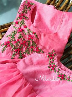 Discover thousands of images about Trendy Baby Dress Party Daughters 46 Ideas Embroidery On Kurtis, Kurti Embroidery Design, Hand Embroidery Dress, Embroidery Neck Designs, Hand Embroidery Videos, Embroidery Flowers Pattern, Embroidery On Clothes, Embroidery Suits, Churidar Designs