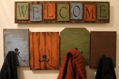 Distressed Entry way Coat rack w/ Welcome sign by Maryswoodcrafts, $80.00