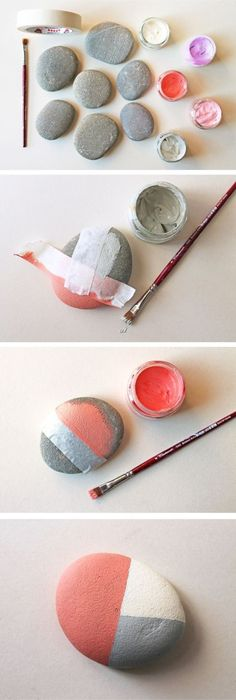 The art of pebble painting in 60 photos and tutorials – a creative activity to share with your children, Diy Abschnitt, Pebble Painting, Pebble Art, Stone Painting, Diy Painting, Stone Crafts, Rock Crafts, Diy And Crafts, Arts And Crafts, Caillou Roche