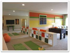 LSA playroom/exercise room==colors, maybe not but layout good Basement Workout Room, Workout Room Home, Gym Room, Workout Rooms, Exercise Rooms, Home Gym Design, House Design, Gym Decor, Multipurpose Room