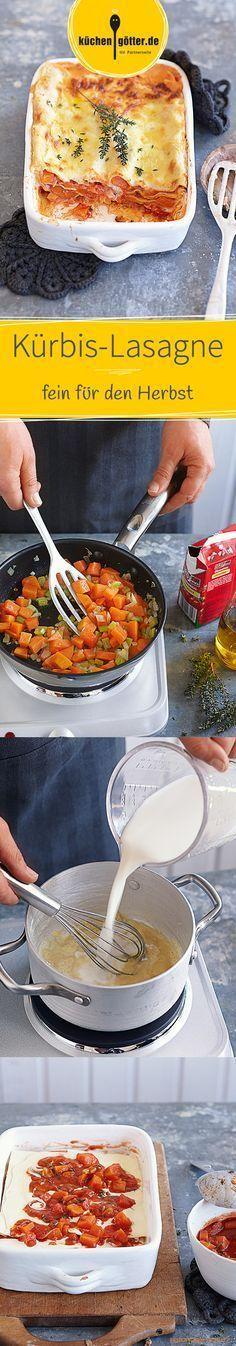 KÜRBIS-LASAGNE - Ein Auflauf, der nicht nur vegetarische Gäste begeistert: In unserem Rezept werden Kürbis, Tomatensugo, Lasagneblätter und Käse-Béchamelsauce geschichtet.