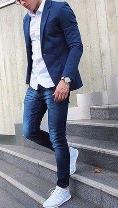 50 Ideas De Moda Con Jeans Para Hombres – Aufloria 50 Fashion Ideas With Jeans For Men - Aufloria Blazer Outfits Casual, Stylish Mens Outfits, Blazers For Men Casual, Outfits Hombre, Blue Blazer Outfit Men, Orange Blazer, Classic Outfits, Simple Outfits, Casual Wear