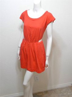 WOMEN SILENCE + NOISE Urban Outfitters coral pleated dress size M #SilenceNoise #Casual